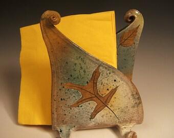 Napkin Holder Letter Holder, Fern, Pin Oak & Red Maple in Green Leaf glaze,  red stoneware