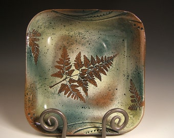 serving bowl stoneware bowl square bowl green leaf with Rabbitfoot Fern impressions