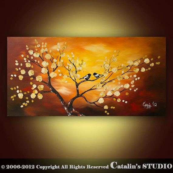 Abstract Landscape Tree Birds Painting Textured Modern   Art by Catalin 48x24