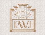Hollywood Lights 1920s Art Deco Gatsby Wedding Monogram - Wedding Logo - Wedding Crest
