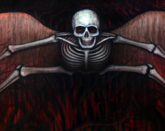 Winged Skeleton in Haunted Oaks Original Painting on Canvas