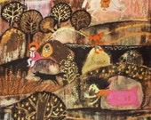 "Vintage Soviet Surreal Print ""Russian Fairy Tale"" Folk Art Fairytale Illustration - Colorful Weird Print"