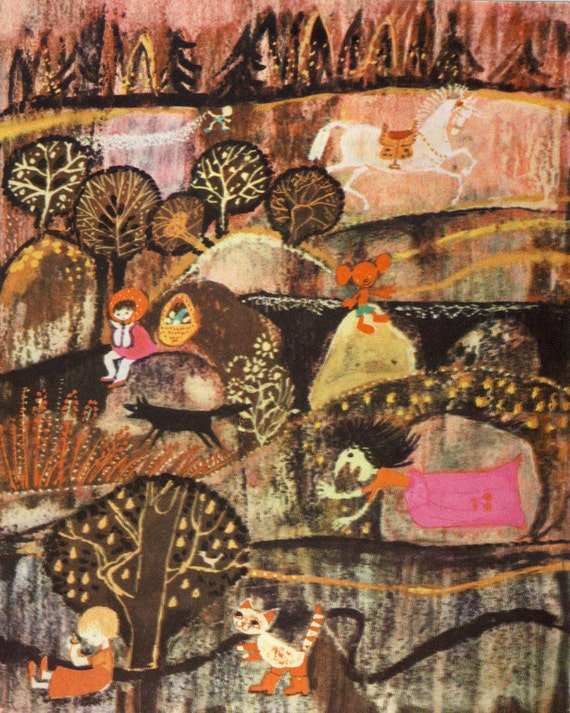 "Vintage Soviet Surreal Print ""Russian Fairy Tale"" Folk Art Fairytale Illustration - Colorful Weird Print"