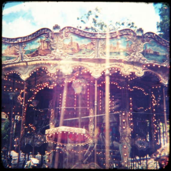 "Carnival Photo Print ""Haunted Carousel"" Fine Art Photograph - Surreal Circus Whimsical Art Print"
