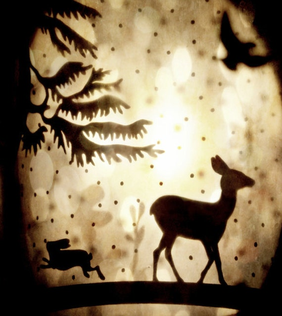 """Surreal Woodland Photo """"Deer Hart"""" Collage Photograph - Fairy Tale Art - Dreamy Forest Photo Print - Animal Silhouette"""