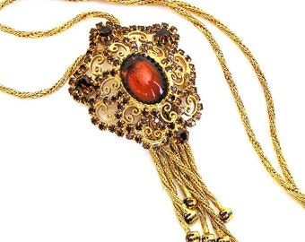 Amber or Cognac Pendant Necklace with Tassels