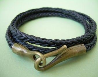Hook Clasp Wrap Bracelet, Leather Bracelet, Mens Bracelet, Womens Bracelet, Mens Jewelry, Womens Jewelry, Mens Gift, Groomsmen