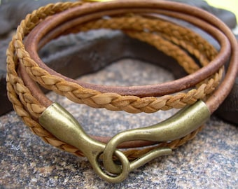 Triple Wrap Leather Bracelet , Hook Clasp, Mens Bracelet, Mens Jewelry, Womens Bracelet, Womens Jewelry