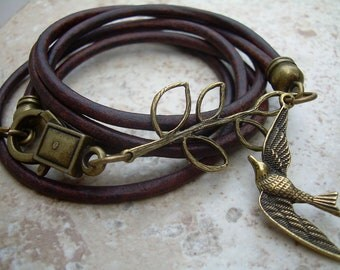 Steampunk Bracelet, Leather Bracelet, Womens,  Antique Brown, Antique Bronze,Triple Wrap, Branch and Swallow, Steampunk, Womens Jewelry