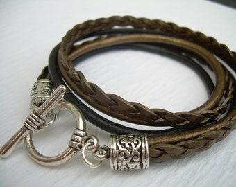 Womens  Metallic Bronze and Black Double Wrap Leather Bracelet ,  Womens Jewelry, Womens Bracelet, Leather Bracelet, Leather Jewelry, Her