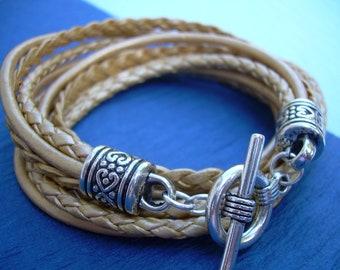 Gold Leather Bracelet, Wrap Bracelet, Leather Bracelet, Double Wrap, Womens Bracelet, Gold, Womens Jewelry, Bracelet, Gift for Her
