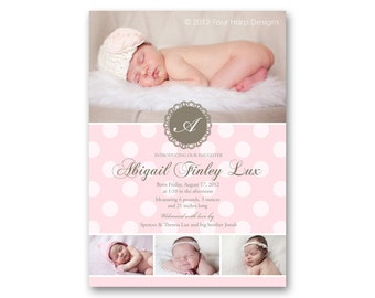 "Birth Announcement, Vintage Inspired, ""Doily"" - a printable photo card for your baby girl (No. 11004)"