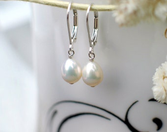 Drop Pearl Earrings | Light Ivory White Freshwater Droplet Pearls | Sterling Silver Leverback Dangles | Small Earrings | Made to Order