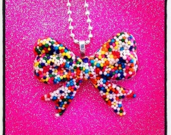 Sprinkle Bow Necklace