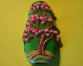 ON SALE--Skholtglass Pink Tree-- Lampwork focal bead--Signed