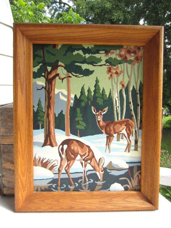 Vintage Paint By Number Deer Winter Scene Framed By