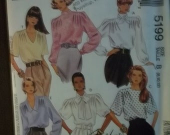 "BLOUSES Scarf retro fashion sewing pattern, McCall's 5199, size misses 8 10 12, Bust 31"" to 34"", UNCUT pattern"