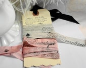 Ribbon 4yards French Hand Stamped Paris