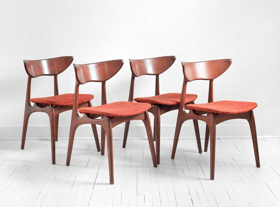 Items similar to Vintage Danish Style Dining Chairs - Mid ...