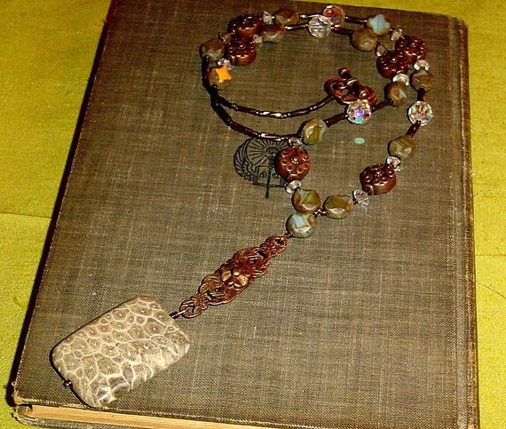 Petoskey fossilized coral pendant in copper and crystals