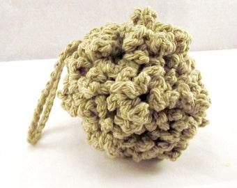 Moss Green Pouf, Crochet Bath Puff, Cotton Shower Puff, Cotton Bath Scrubbie, Green puff