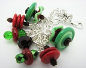 Sterling Holiday Bracelet with Red and Green Artisan made beads and Swarovski Accents. Chain bracelet.