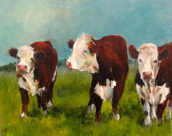 Cow Painting- Herefords in the Afternoon- Canvas or Paper Giclee print of an original painting