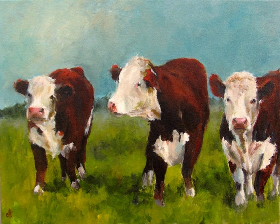 Cow Painting Herefords In The Afternoon Canvas By