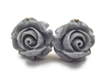 Grey Rose Flower Clip On Earrings