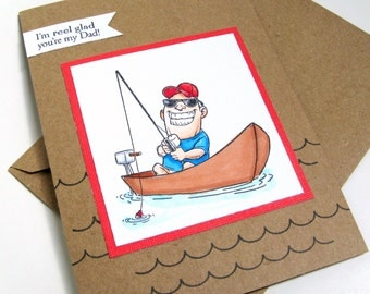 Fathers Day Card, Birthday Card, Card for Dad, Dad Birthday, Father, Fisherman, Card for Him, Fathers Day, Retirement, Fishing, Daddy, Dad