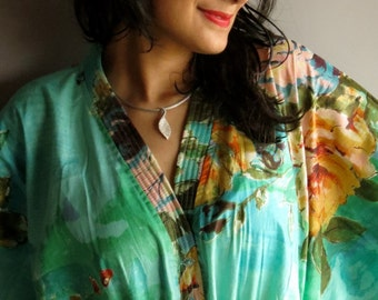 Aqua Nursing Maternity Hosptial Gown Delivery Kaftan - Perfect as loungewear, as getting ready, as beachwear, gift for moms and to be moms
