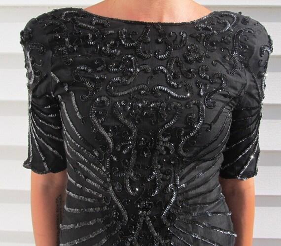 Vintage Black SILK Sequined Wiggle Cocktail Dress S 4