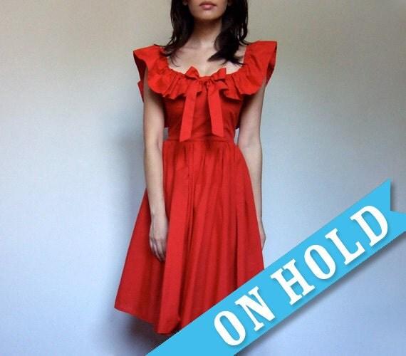 Vintage Red Dress Ruffle Fashion Bow Cotton XXS/ XS