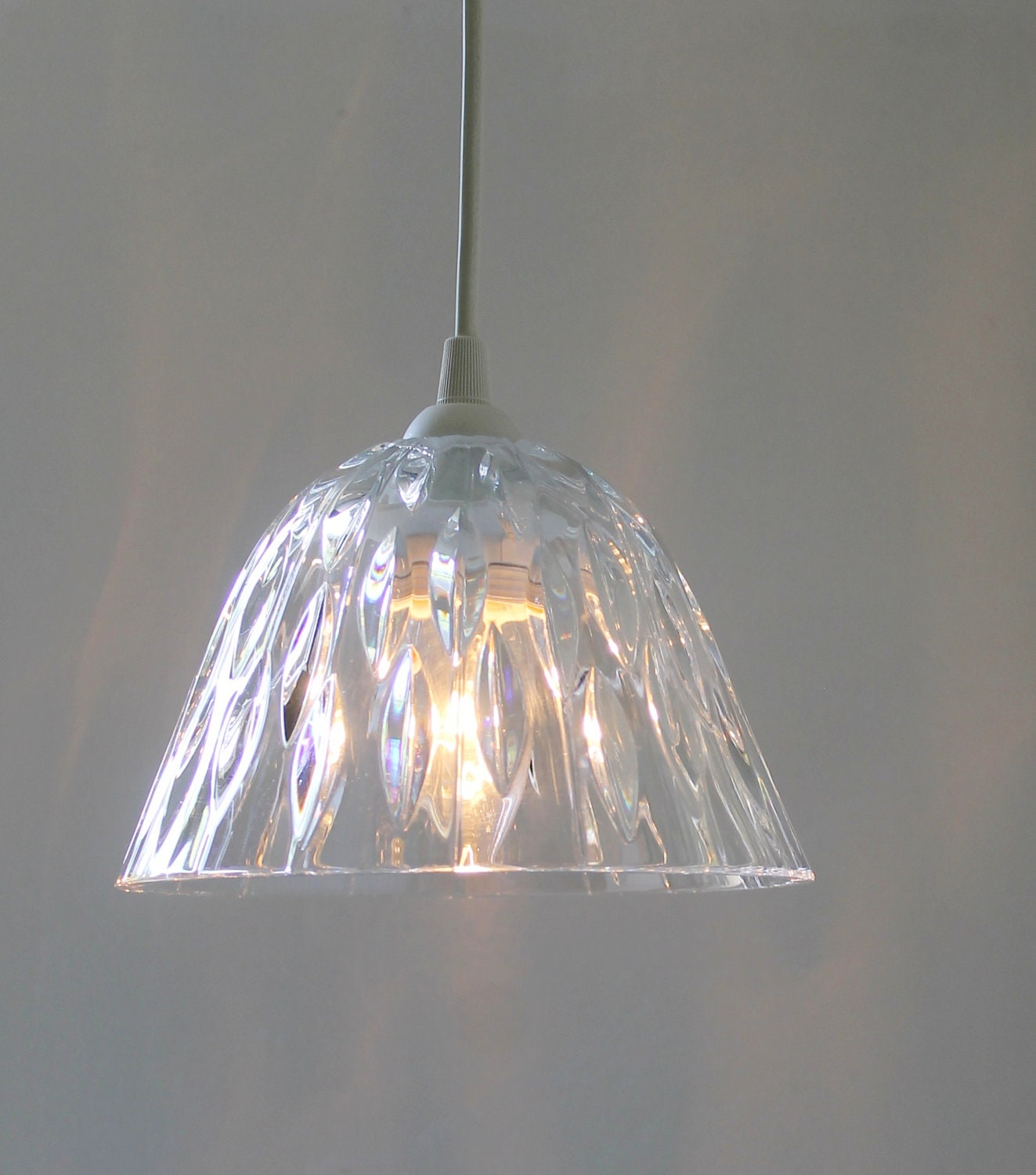Crystal Light Hanging Pendant Lighting Fixture Upcycled