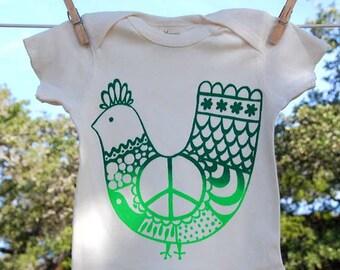 Organic cotton Lap Shirt, Green 'Peace Chicken'