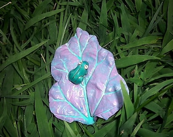 Tiny Tree Frog On A Lavender Leaf