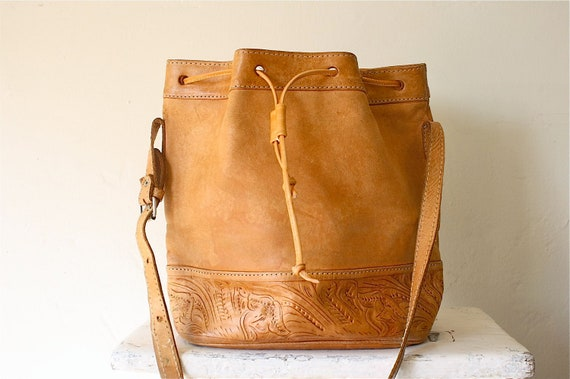 tooled leather southwest bucket bag in camel tan