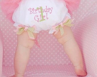 Birthday Girl Double Boutique Bow Design Your Own Bloomers Diaper Cover