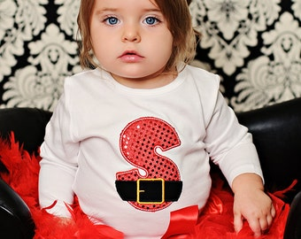 SANTAS HELPER  Sparkle Personalized Intiial Onesie Shirt