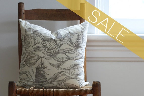 SALE gray ships pillow cover