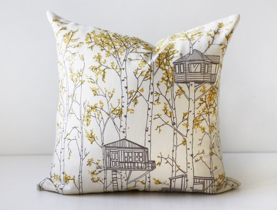 yellow treehouse pillow cover
