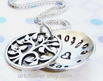 Personalized necklace  - Handstamped necklace - Mother necklace - Family tree charm necklace - small size