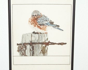 Bluebird Counted Cross Stitch World Famous Little Mad Bluebird  USA Antique Ivory Aida Cloth SALE Bird on Fence Post Barb Wire Nielsen Frame
