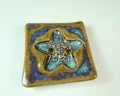 Star Fish Ceramic Button with Textured Design / Handmade Stoneware Clay / Decorator Button