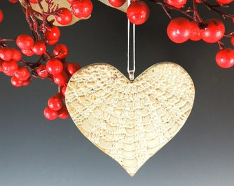 Heart Ornament in White Satin Glaze / Handmade in Stoneware Clay / Home Decor / Wedding Decor