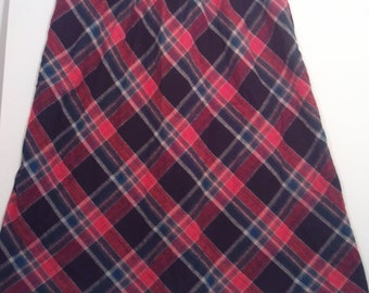 tartan plaid a skirt boho bohemian punk grunge wool mod skirt 30 32 pendleton size 16 60s sixties