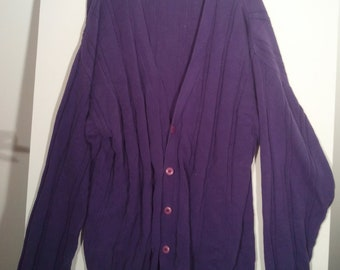 Architect sweater cardigan jumper pullover XL XXL punk goth stripe shirt top 80s new wave grunge sagger skater purple Robert Smith The Cure