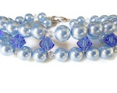 Bracelet made with swarovski crystal elements and pearls  blue with sterling heart toggle clasp weddings prom - PoconoPrincessJewels