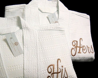 His Hers Monogram Robe, Mr Mrs, Monogrammed Waffle Weave Robe Set, Personalized Cotton Anniversary Gift, 1403LDYS, Set of 2 Robes