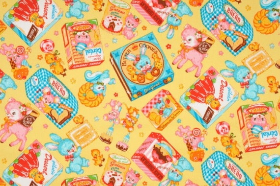 NEW, Japanese, Animal Sweets in Creamy Yellow, FAT QUARTER